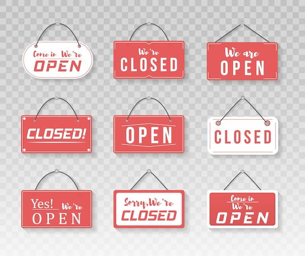 Image of various open and closed business signs. a business sign that says come in, we're open. signboard with a rope.