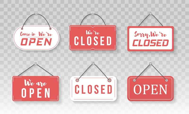 Image of various open and closed business signs
