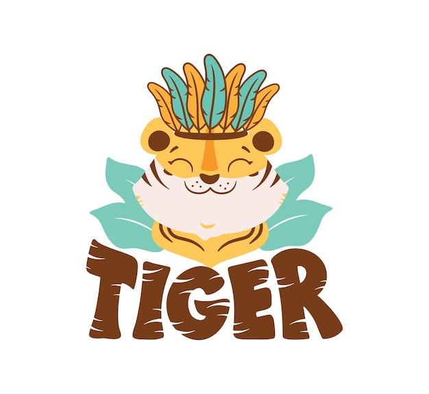 The image with tiger head the funny wild animal boy with feathers is good for tiger day logos