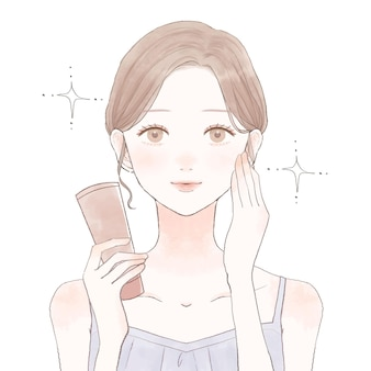 Images of cosmetic effects. on a white background. cute and simple art style.