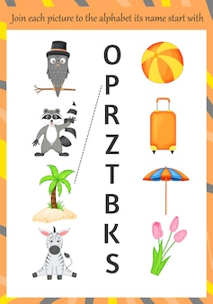 아이들을 위한 알파벳 학습을 위한 이미지. 만화 스타일입니다. 벡터 일러스트 레이 션.