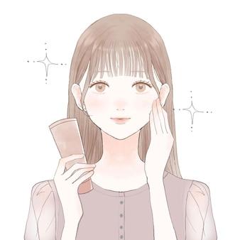미용 효과의 이미지. 흰색 배경에. 귀엽고 심플한 아트 스타일.