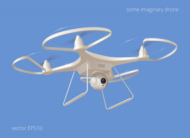 架空のモダンなドローン。青い空を飛んでいる白いプラスチック製のquadcopter。