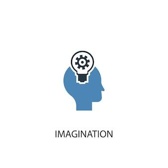 상상 개념 2 컬러 아이콘입니다. 간단한 파란색 요소 그림입니다. 상상력 개념 기호 디자인입니다. 웹 및 모바일 ui/ux에 사용 가능