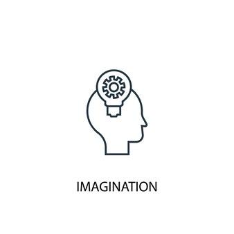 상상력 개념 라인 아이콘입니다. 간단한 요소 그림입니다. 상상력 개념 개요 기호 디자인입니다. 웹 및 모바일 ui/ux에 사용할 수 있습니다.