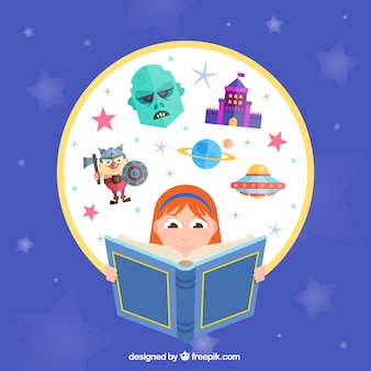 Творческая девушка читает книгу