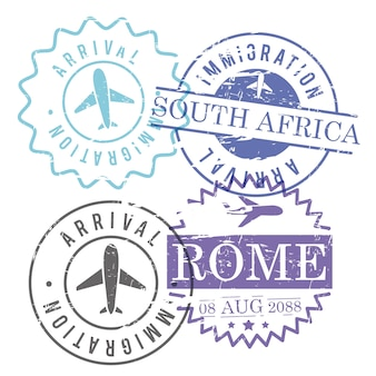 Immigration and arrival travel circular stamps