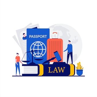 性格のある移民法の概念。パスポート、ビザ、スーツケース、正義のはかり、小槌裁判官が記載された法律書。ランディングページ、モバイルアプリ、ウェブバナー、インフォグラフィック、ヒーロー画像のモダンなフラットスタイル。