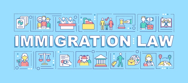 Immigration law word concepts banner. human rights for citizenship. infographics with linear icons on turquoise background. isolated creative typography. vector outline color illustration with text