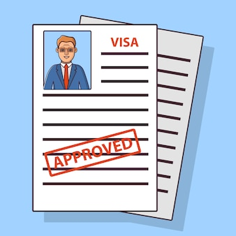 移民アンケート、承認されたビザ、スーツを着た男と眼鏡。