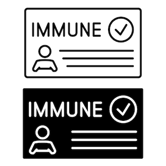 Immune card in outline and in glyph style vaccine passport vaccination certificate or card