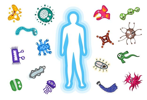 면역 보호 시스템 본체는 세균 박테리아 및 바이러스 감염 공격 벡터 일러스트를 반영합니다.