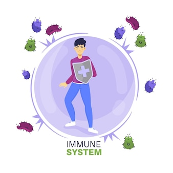 Immune system character with shield against virus Premium Vector