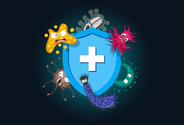 면역 체계 개념 위생 의료 파란색 방패는 바이러스 세균과 박테리아로부터 보호합니다.