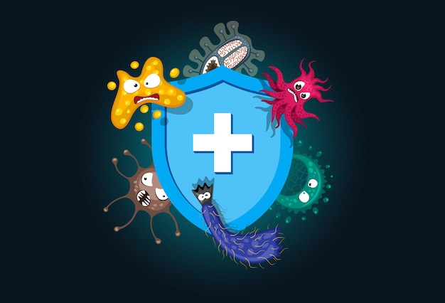 Immune system concept hygienic medical blue shield protecting from virus germ and bacteria flat