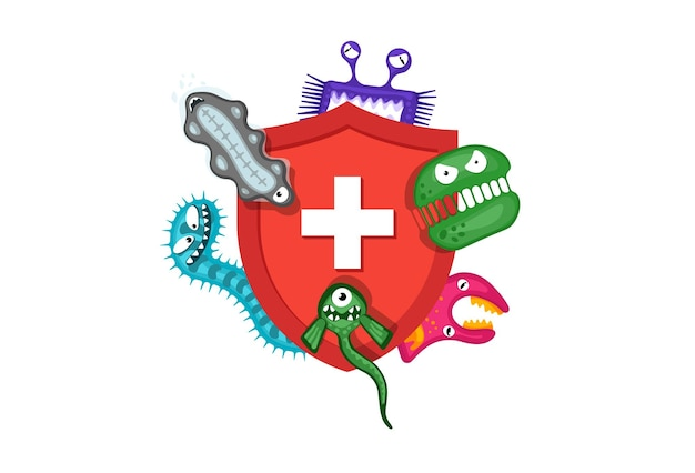 Immune system concept hygienic medical red shield protecting from virus germs and bacteria flat