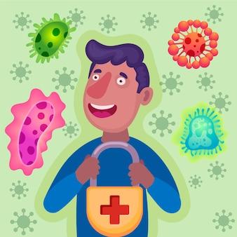 Illustrazione di concetto di sistema immunitario