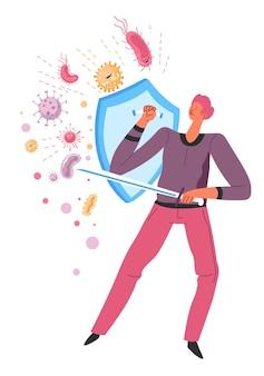 박테리아, 미생물 및 세균, 바이러스 및 유해한 질병으로부터 면역 체계를 보호하는 유기체. 건강을 위해 싸우는 방패와 칼을 가진 캐릭터. 면역 저항, 평면 스타일의 벡터