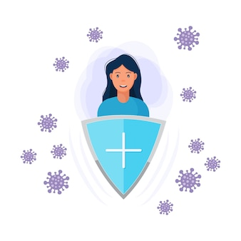 Immune system vector icon logo health bacteria virus protection