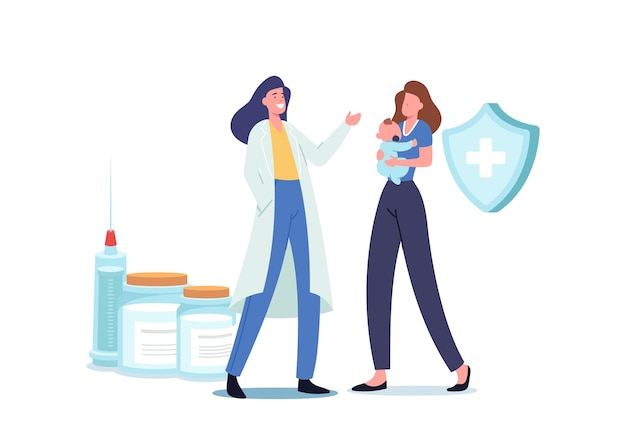 Immunity health care. young mother bring little baby to hospital for vaccination and immunization procedure. friendly doctor prepare vaccine in syringe for shooting. cartoon vector illustration