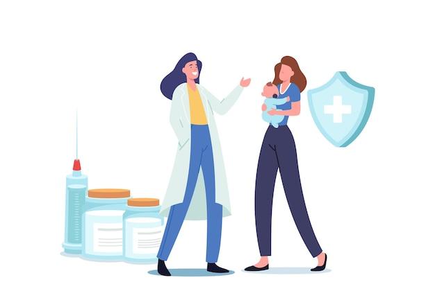 免疫ヘルスケア。若い母親は、予防接種と免疫化の手順のために小さな赤ちゃんを病院に連れて行きます。フレンドリーな医師が注射器でワクチンを準備して射撃します。漫画のベクトル図