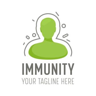 백신 및 예방 접종 의료 서비스에 대한 면역 로고. 인체는 바이러스성 공격 아이콘, 건강 관리 방어, 건강한 신체 개념, 질병 예방 배너를 반영합니다. 만화 벡터 일러스트 레이 션