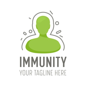 Immunity logo for vaccine and vaccination healthcare service. human body reflect viral attack icon, health care defence, healthy body concept, disease prevention banner. cartoon vector illustration