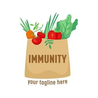 종이 쇼핑백에 건강한 제품이 있는 면역 로고. 의료 서비스 아이콘, 건강 안전, 관리 및 방어 개념, 인간의 건강과 영양을 위한 배너. 만화 벡터 일러스트 레이 션