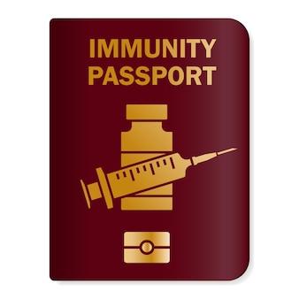 면역 여권. 예방 접종을 받은 건강 여권. 사람이 covid-19 백신 접종을 받았다는 것을 보여주는 종이 문서. 코로나바이러스의 면역 종이 문서. 벡터