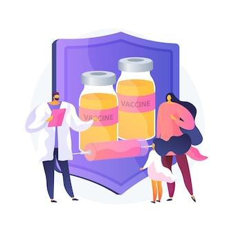 予防接種教育抽象的な概念ベクトルイラスト。予防接種情報、ワクチンについての教育、親の教育、子供の予防接種、公衆衛生プログラムの抽象的な比喩。