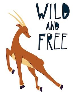 インパラは野生と無料の手描きを引用しますランニングガゼル野生動物面白い漫画の動物 Premiumベクター