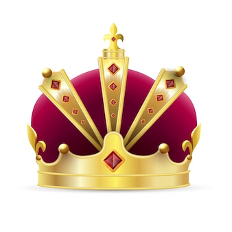 皇冠。赤いベルベットとルビーの宝石アイコンと現実的な帝国の金の王冠。アンティークの王または女王の王冠、高級当局のシンボルの装飾