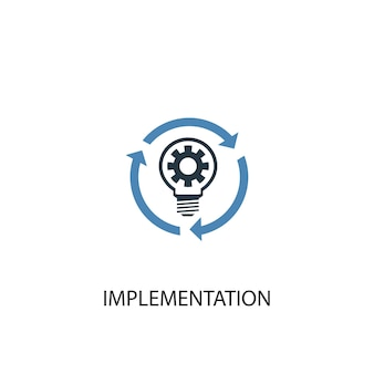 Implementation concept 2 colored icon. simple blue element illustration. implementation concept symbol design. can be used for web and mobile ui/ux