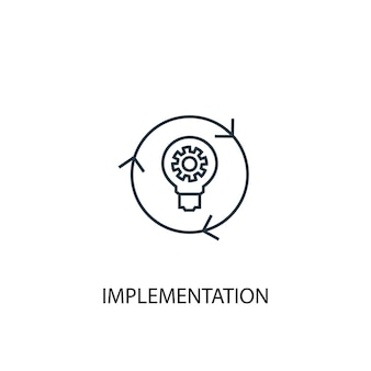 Implementation concept line icon. simple element illustration. implementation concept outline symbol design. can be used for web and mobile ui/ux