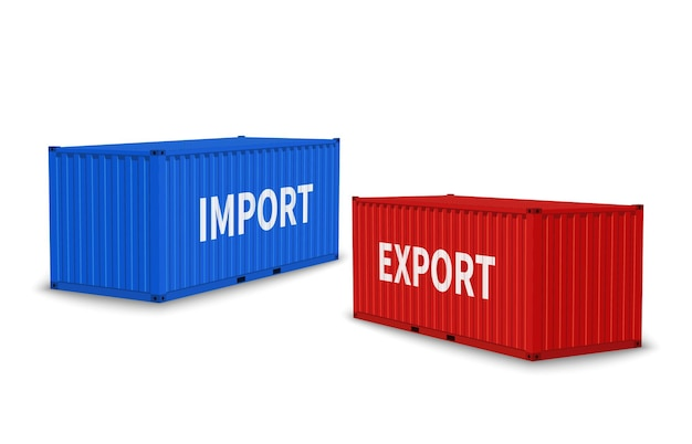 Импортные и экспортные контейнеры. грузовой синий и красный контейнер под разными углами, коммерческие промышленные перевозки, международная транспортная логистика, доставка грузовых векторных реалистичных 3d изолированных концепций