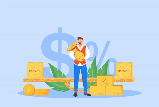 Import and export tariffs  concept  illustration. man holding stamp  cartoon character for web design. international trading tax, taxation policy, legal obligation creative idea