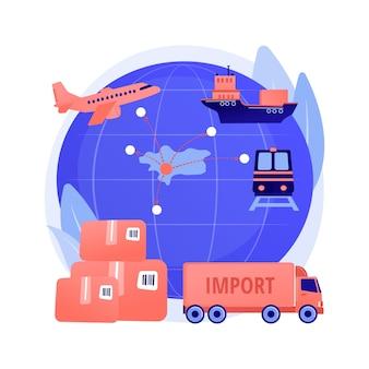 Importazione di beni e servizi concetto astratto illustrazione vettoriale. processo di vendita internazionale, risorse materiali, investimenti interni, spedizione, bilancia commerciale, metafora astratta del reddito.