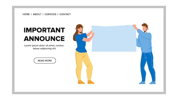 Important announce placing man and woman vector. blank canvas banner for important announce or information holding businesspeople. characters office employees web flat cartoon illustration