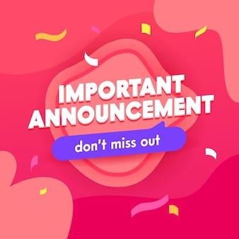 Important announcement banner, social media banner