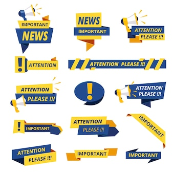 Important badges. attention notice announcement stickers  collection stylized promotional graphics.
