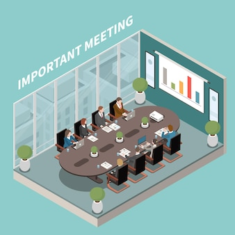 Презентация важных бизнес-результатов, интерьер конференц-зала, изометрическая композиция с овальным столом для заседаний, диаграммами участников