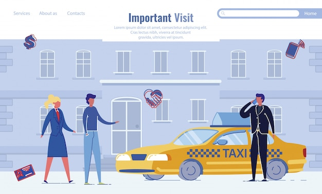 Important business visit landing page template