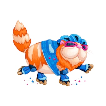 An important, fat red cat roller-skates.