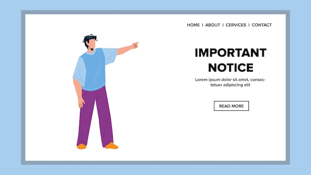 Important notice man raising forefinger vector. young businessman pointing on important notice. character manager remind information or event announcement web flat cartoon illustration