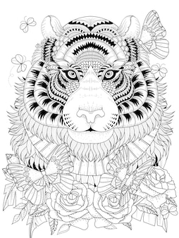 Imposing tiger with floral element adult coloring page