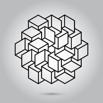 회색 배경에 불가능한 기하학 기호 벡터신성한 기하학 기호 및 기호 벡터 일러스트레이션