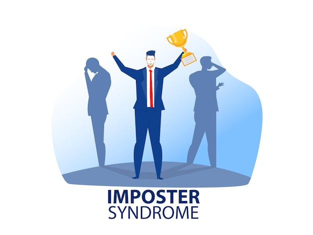 Imposter syndrome man concept illustration