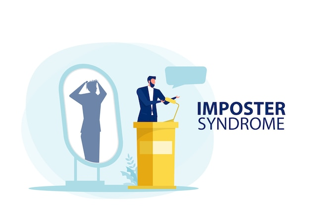 Imposter syndrome.man standing for her present profile with fear shadow behind. anxiety and lack of self confidence at work