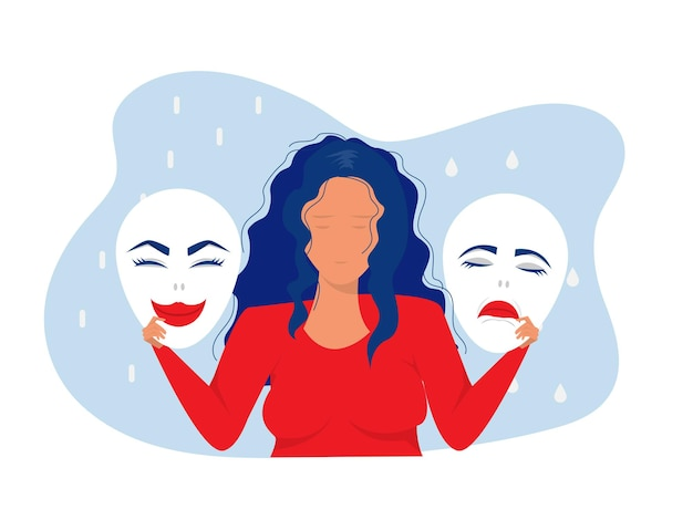 Imposter syndrome masks with happy or sad expressionsbipolar disorder
