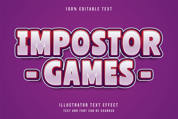 Impostor games,3d editable text effect purple gradation red comic shadow text style